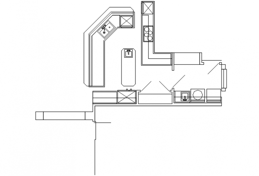 Kitchen Top View Layout Plan With Furniture And Interior Cad