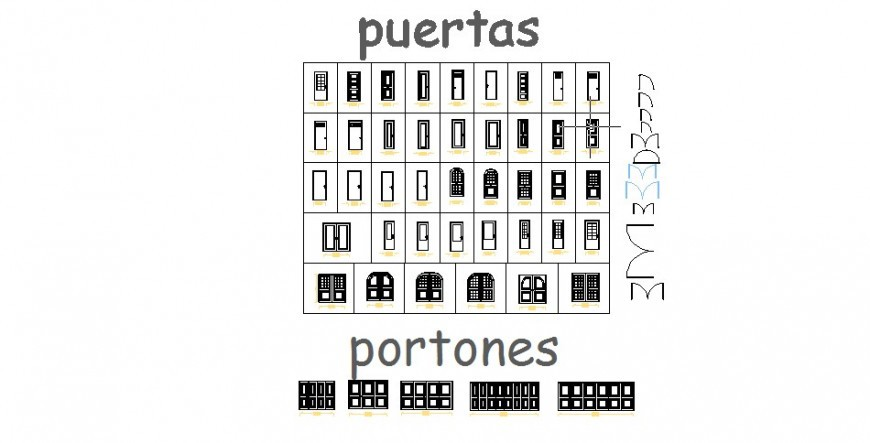 WOODEN DOORS AND WINDOWS 2D BLOCKS CAD DRAWING DETAILS DWG FILE