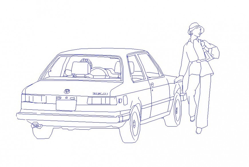 CREATIVE STANDING GIRL WITH CAR 2D ELEVATION BLOCK DRAWING