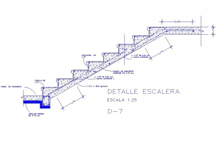 HOUSE STAIRCASE CONSTRUCTIVE SECTION AUTO-CAD DRAWING