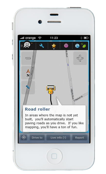 """The """"road roller"""" tool allowed Wazers to build the Map as they drove."""