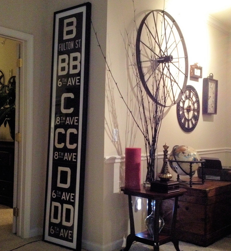 Tall Vintage New York Subway Route Letter Roll Sign Framed As Art In A Home  Office