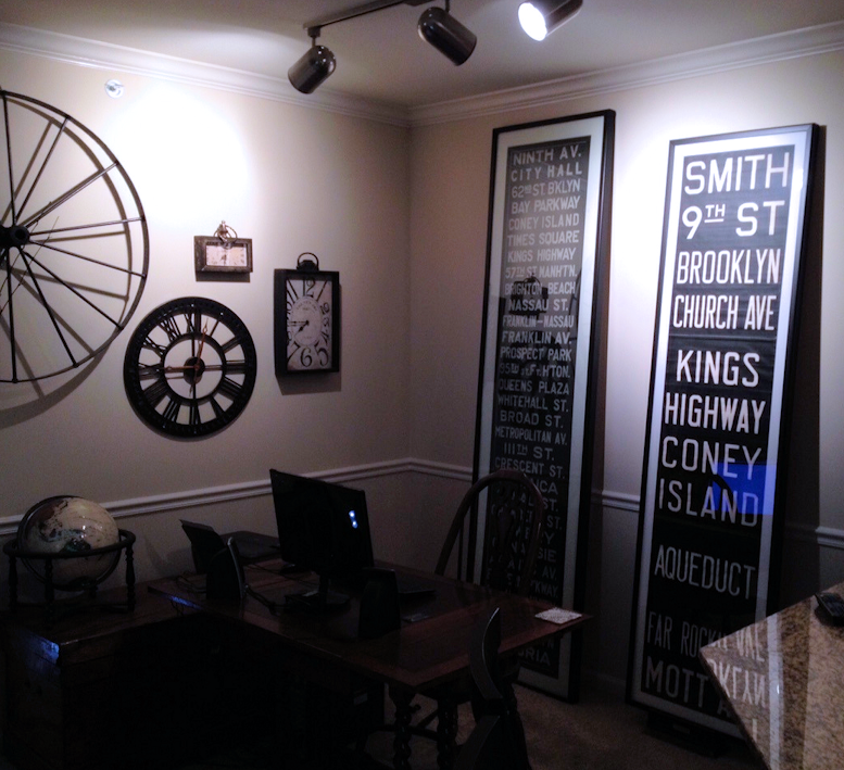 Tall Vintage New York Subway Destination Roll Signs Framed As Art In A Home  Office