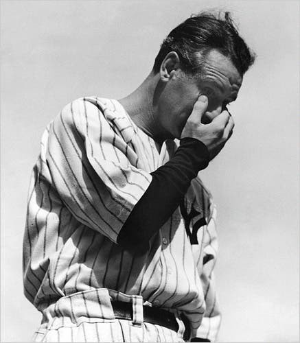 Lou Gehrig, moments after delivering his farewell speech at Yankee Stadium, 7/4/39