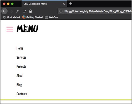 How to make a collapsible menu using only CSS - codeburst