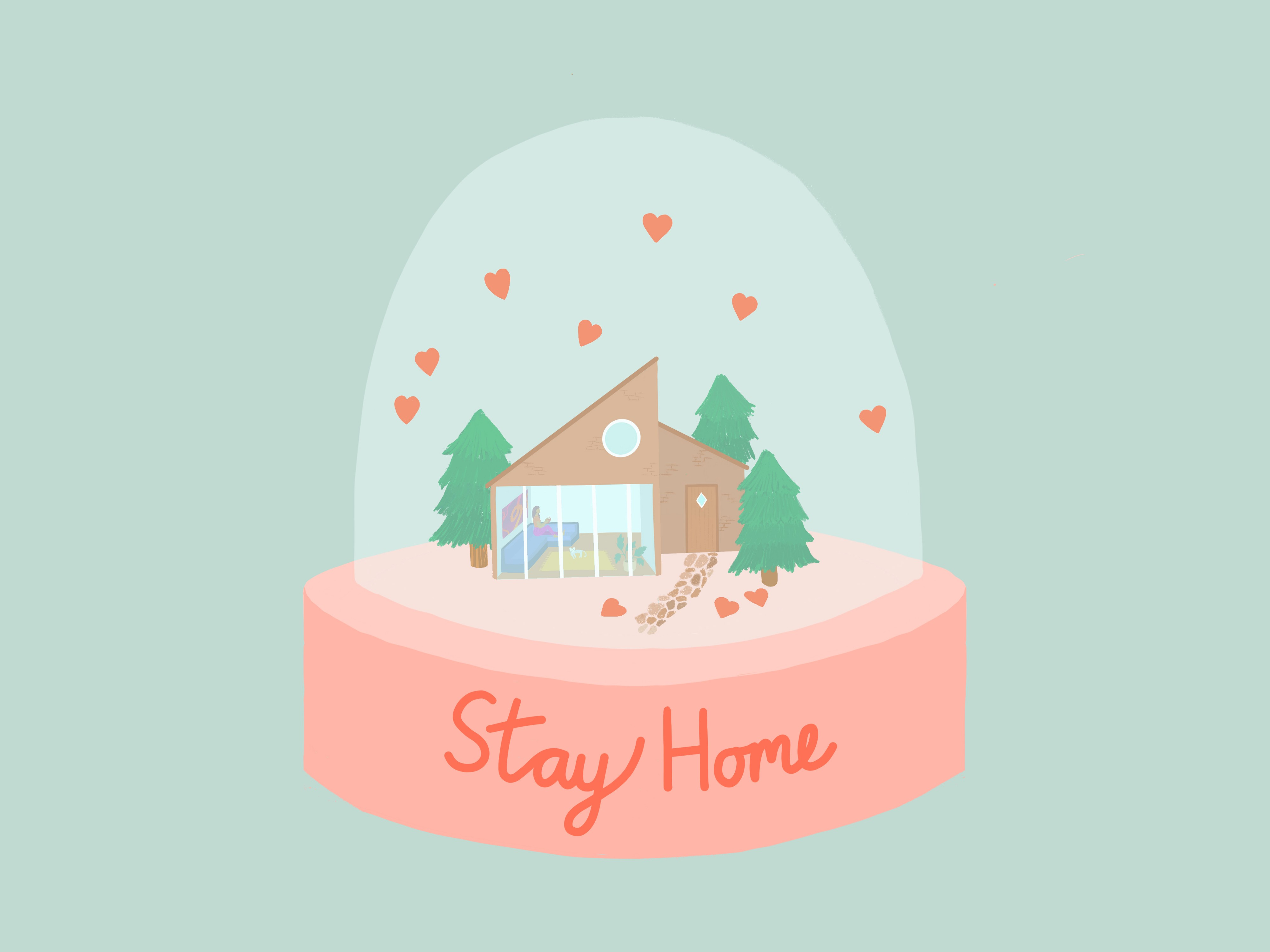 Illustration of a house in a snow globe with title Stay Home