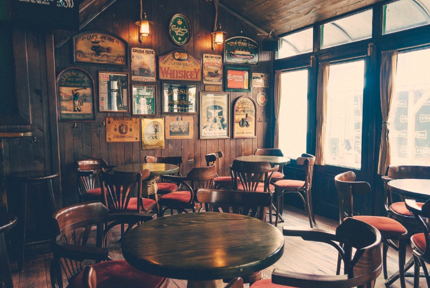 Pub room with old style furniture