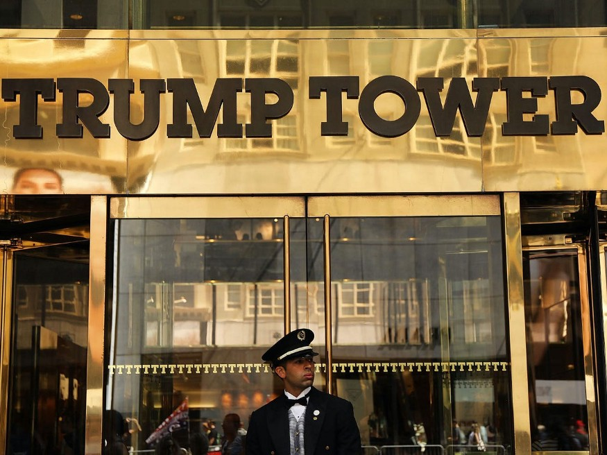 A guard outside Trump Tower on Fifth Avenue in Manhattan.
