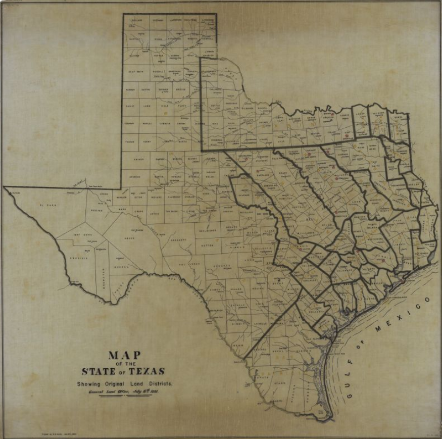Map Of Texas Showing Austin.Organizing The Archives The Land Districts Of Texas