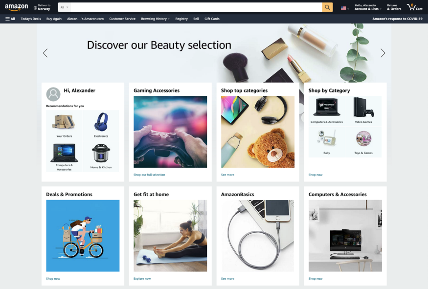 Amazon presents its users with a lot of options on the front page.