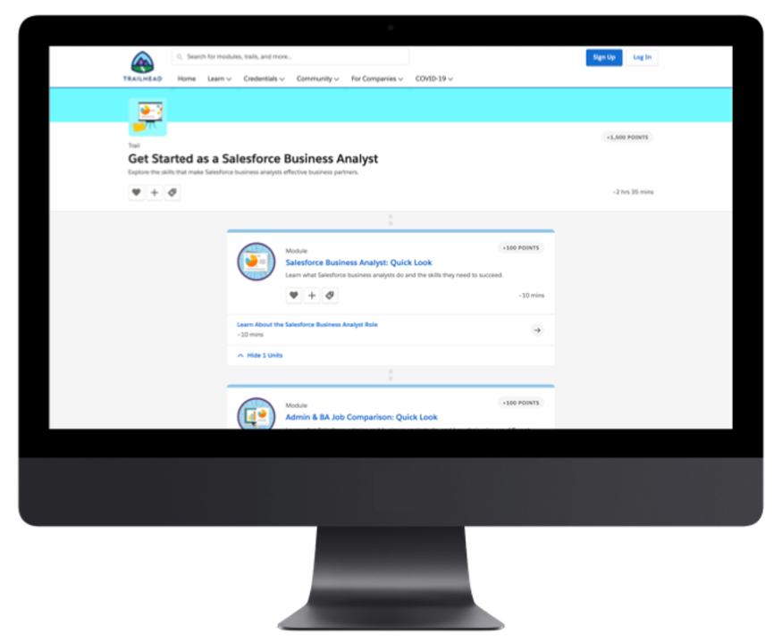 business analyst role tag on Trailhead