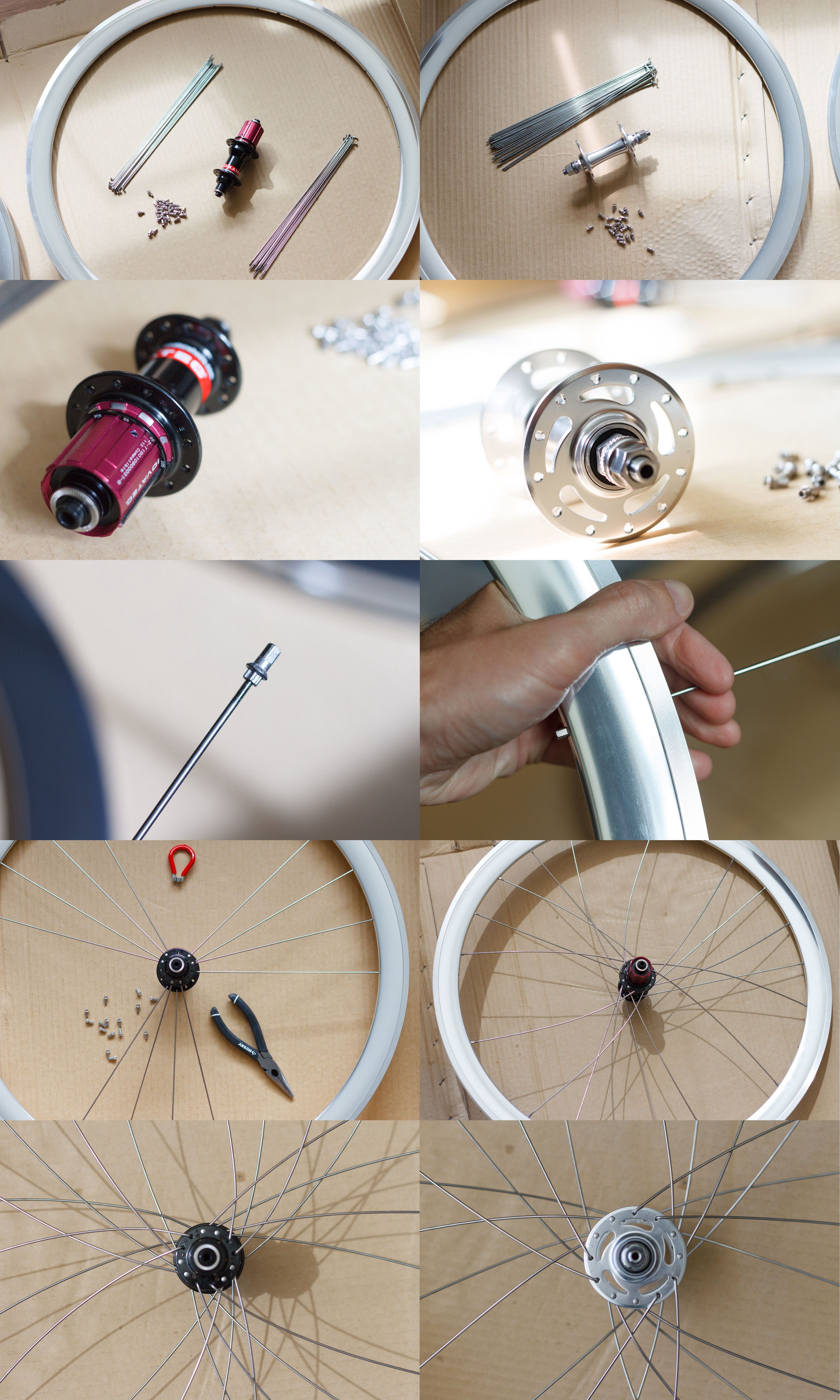A montage of steps in the building of a set of bicycle wheels