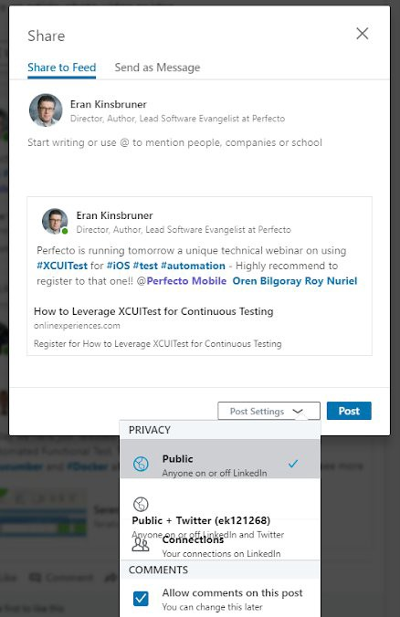 Public and Private options mashed together on LinkedIn Sales Navigator