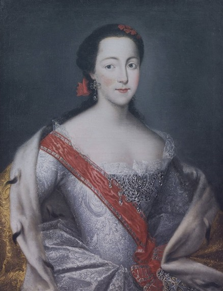 Catherine in a ballgown, with very pale skin. Her black hair is tied back in a red ribbon.