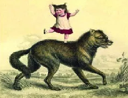 A cartoon child dancing on top of a wolf