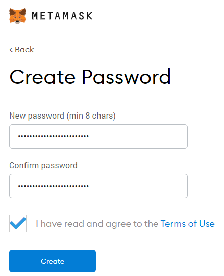 Satochip—Create a new password to secure your wallet.