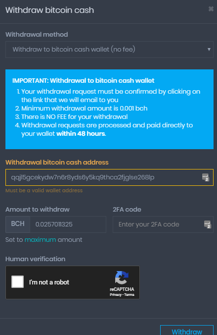 Coinpot form to initiate BCH withdrawal