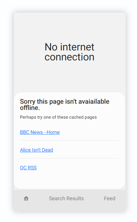 A web page showing a list of links which are cached offline