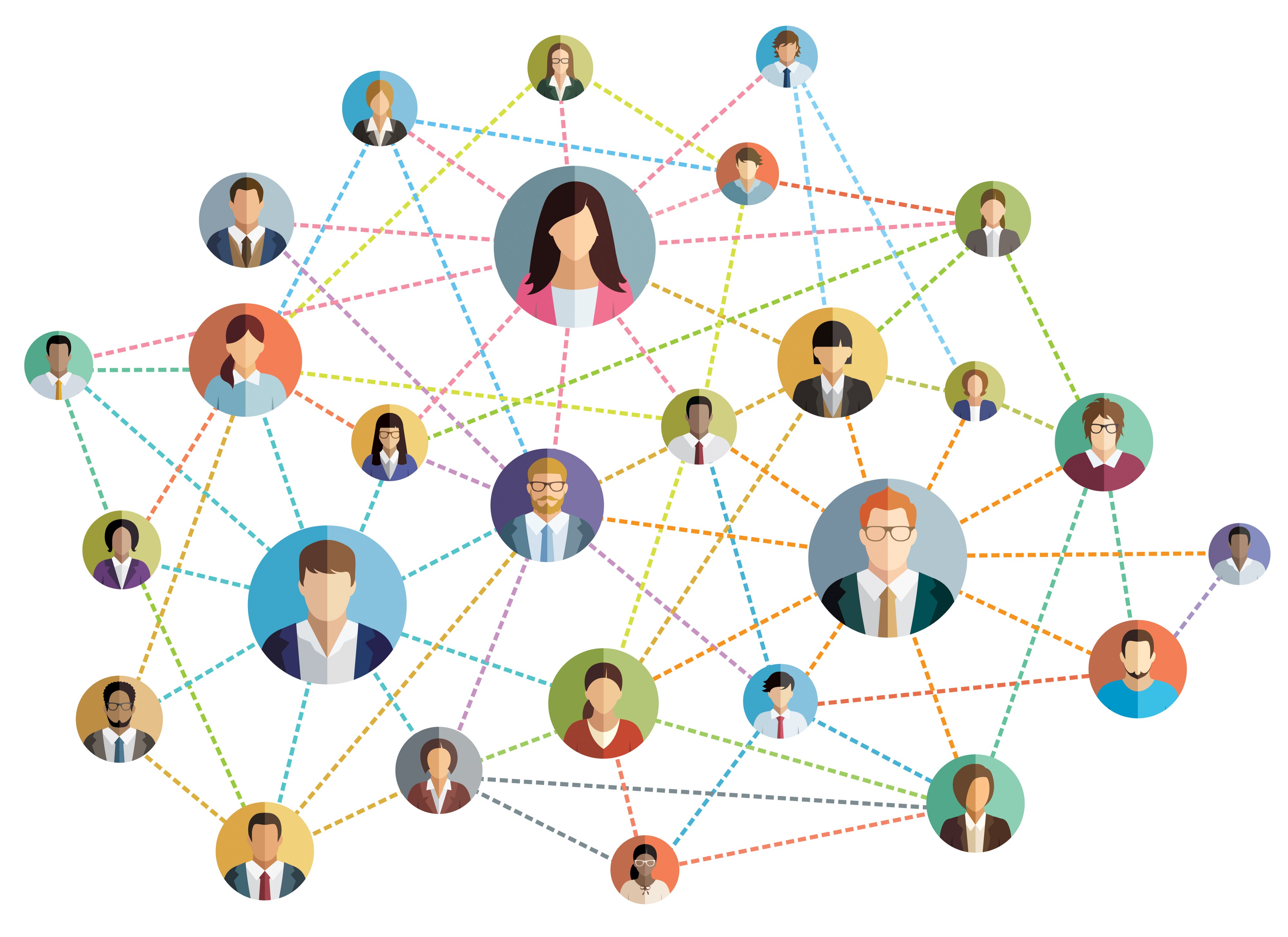 Image depicting a network of people. Networking is a key career skill.