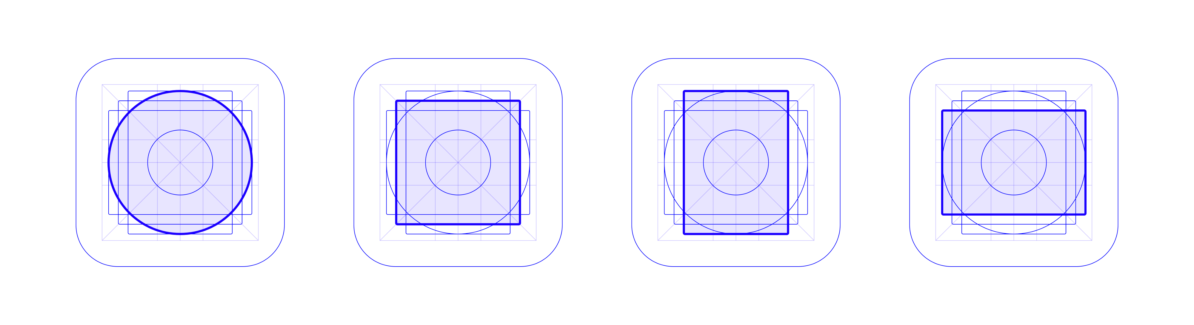 The Play Store grid's keyshapes: circle, square, portrait rectangle, and landscape rectangle