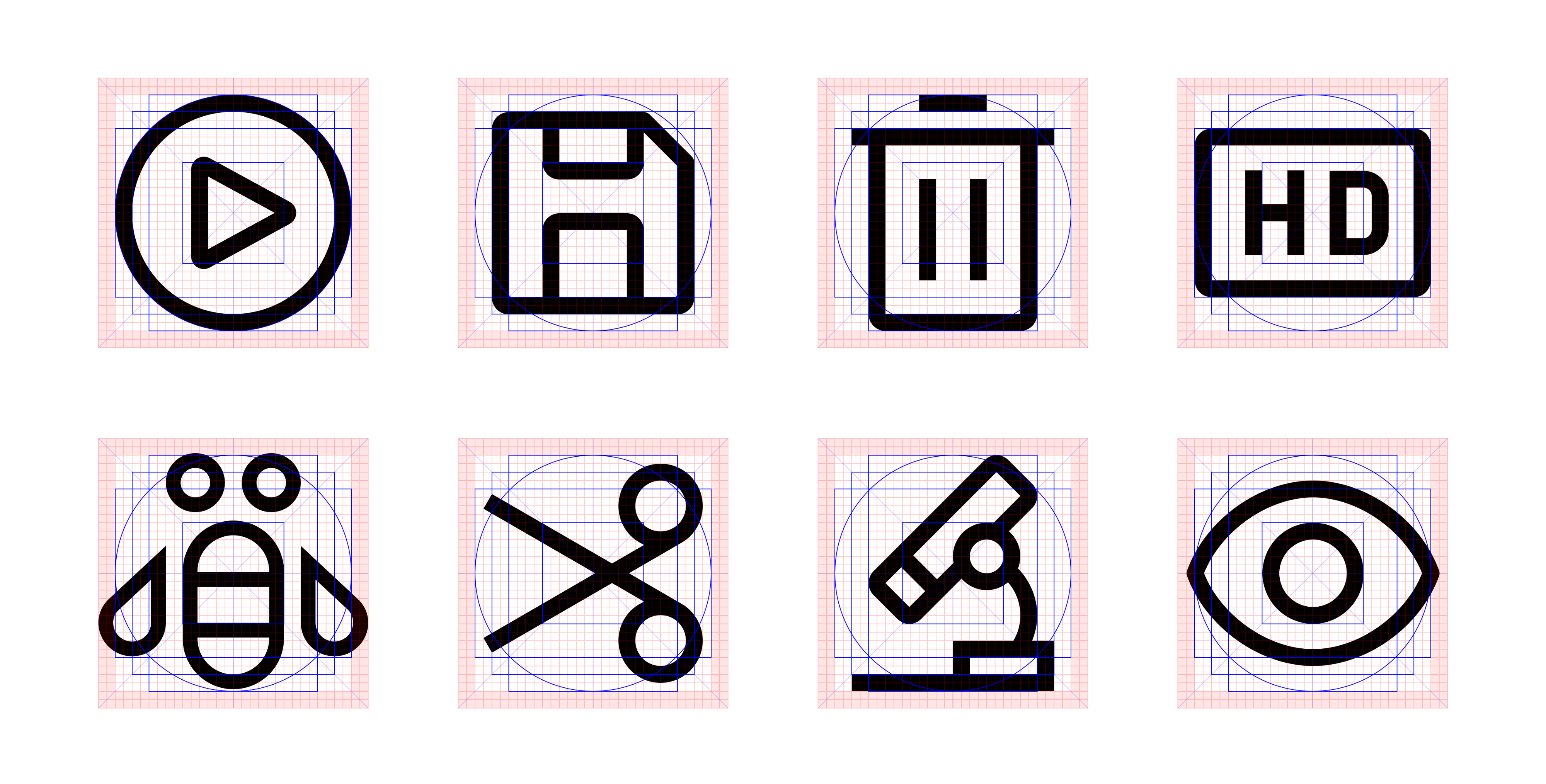 IBM icon against their grid (left to right, top to bottom): Play, Save, Delete, HD, Bee, Cut, Microscope, and Eye