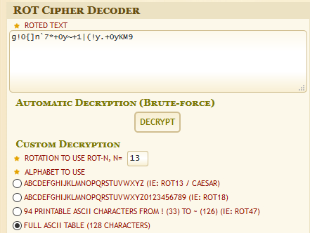 Screenshot showing the ciphertext input to the Dcode website