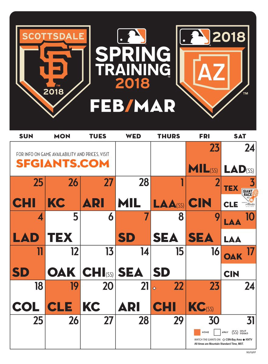 Just Announced Sfgiants 2018 Spring Training Schedule By Sf Giants Splash Hits