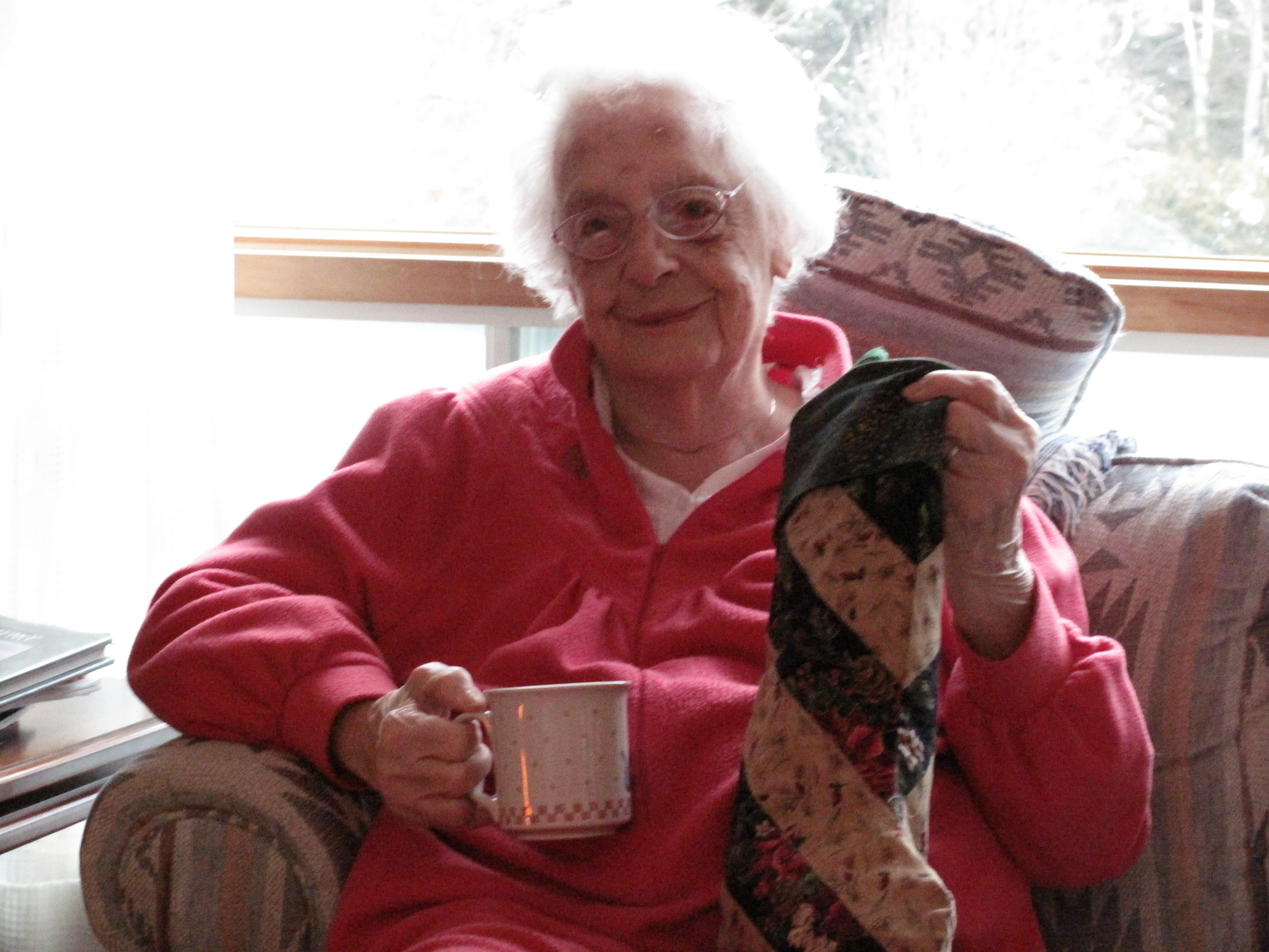Madge on Christmas morning when she was 100 years old