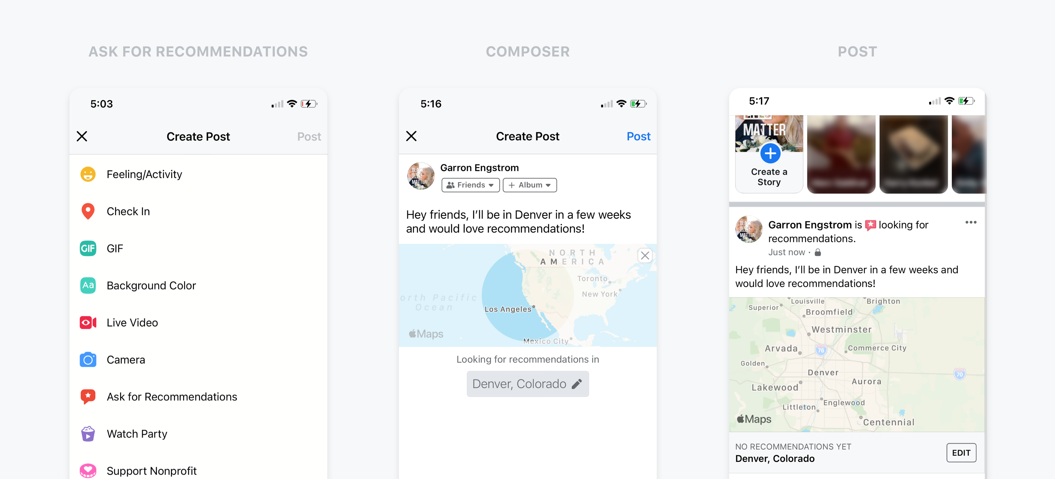 Mobile Facebook app screenshots: creating a recommendation post type
