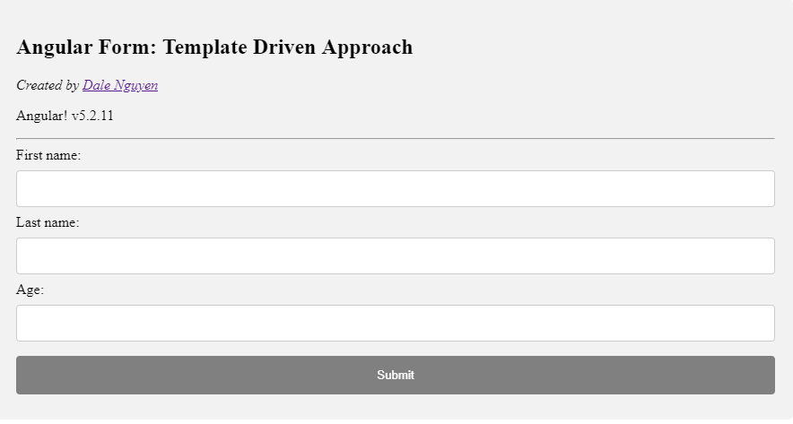 Working with Angular 2+ Form: Template Driven Approach