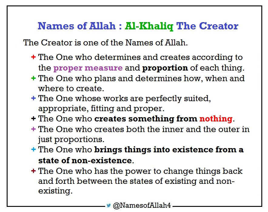 Names of Allah : Al-Khaliq The Creator - Names of Allah - Medium