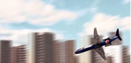 An airplane taking a nose dive, with tall city buildings in background