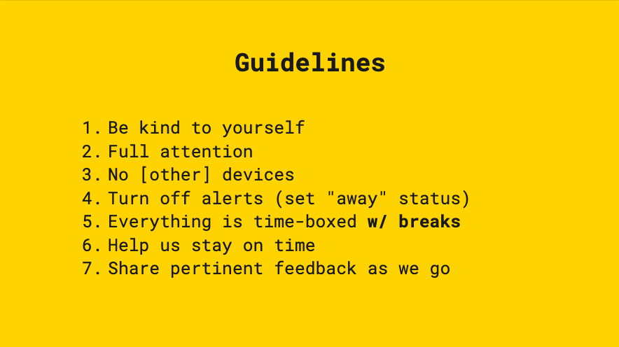 Slide with sprint guidelines