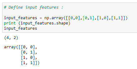 Figure 24: Assigning input values to train our neural net.