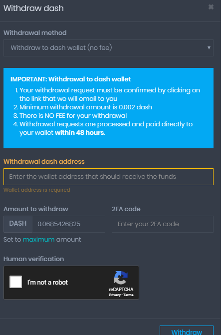 Coinpot form to initiate DASH withdrawal