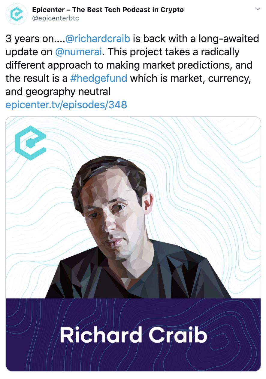 Epicenter podcast—Staking milestone- Towards Data Science coverage for Numerai