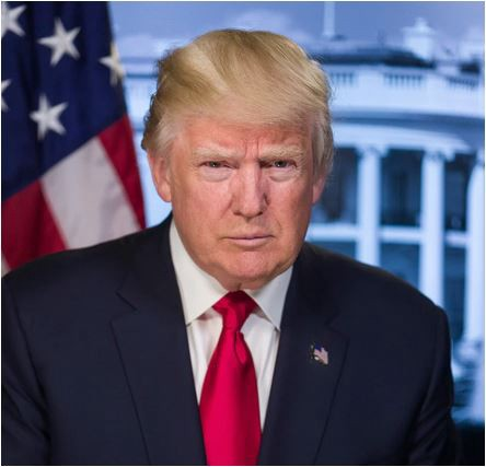 President Donald Trump with U.S. flag and White House as a backdrop