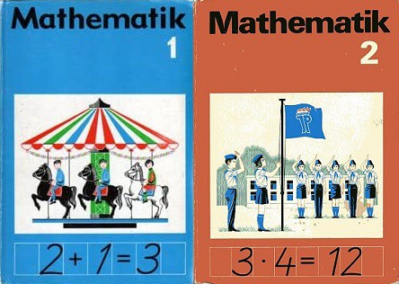 Covers of grade 1 and 2 math textbooks from the former GDR which include pictures of a carousel and of a roll call.