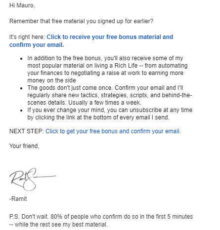 Ramit's follow up email