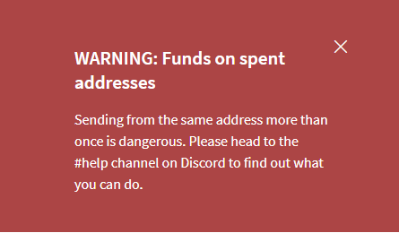 Warning: Funds on spent addresses! How to unblock your funds