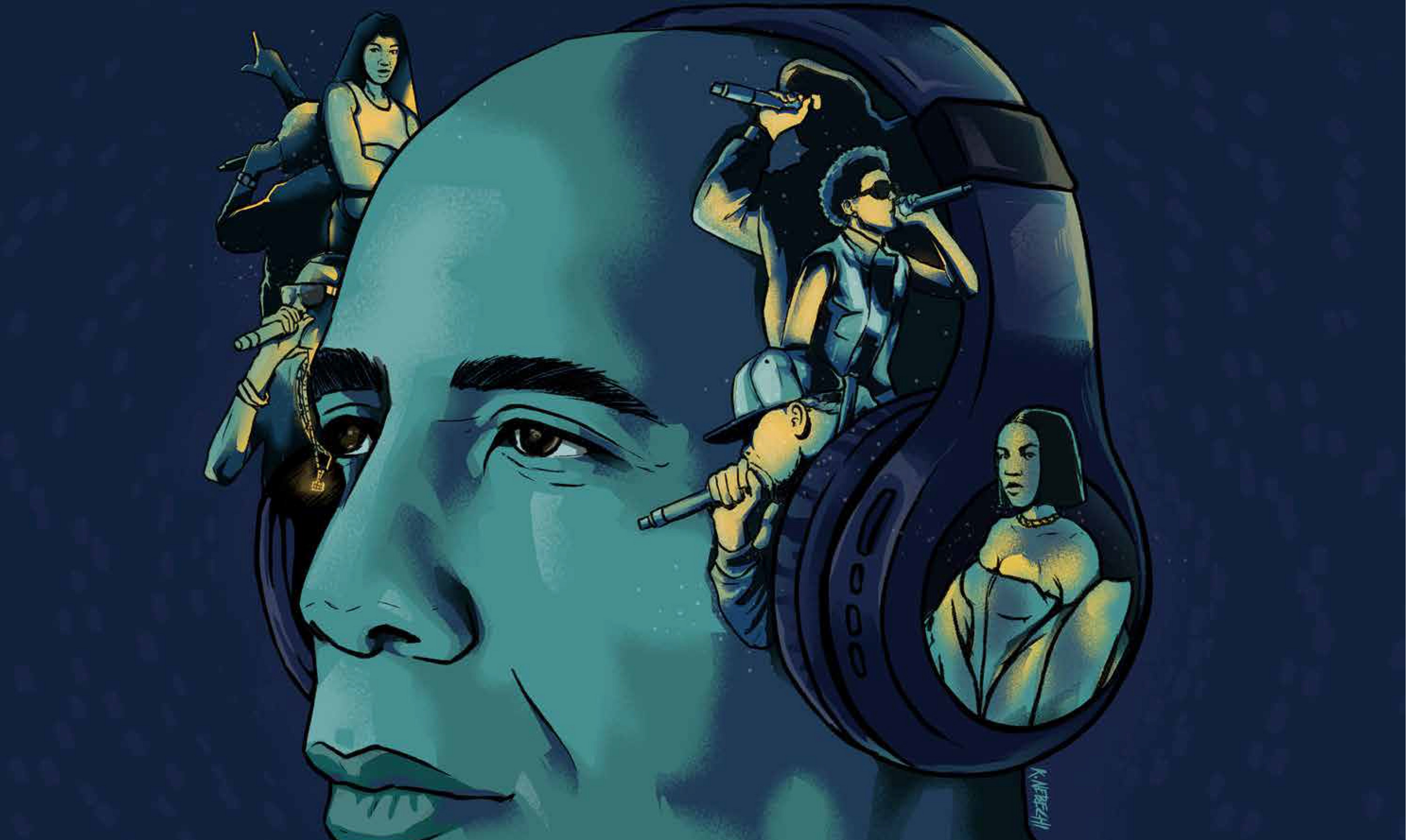 A close-up illustration of a man wearing headphones. Silhouettes of various rappers are drawn across the headphones.