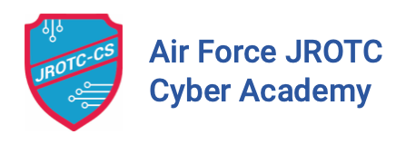 Blue shield with white lettering and a red border that reads JROTC-CS and the text Air Force JROTC Cyber Academy.