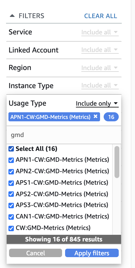 """Usage Type filter, with all results for """"gmd"""" checked"""