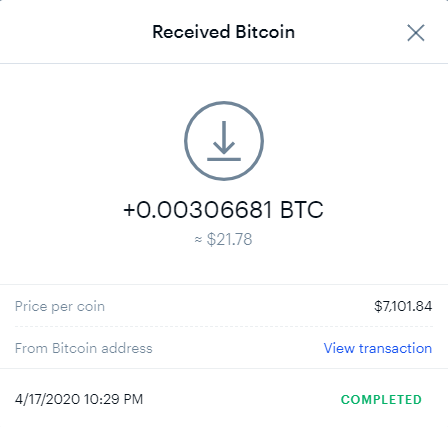 Transaction confirmation of BTC deposit at Coinbase from Coinpot