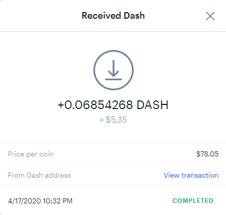 Transaction confirmation of DASH deposit at Coinbase from Coinpot