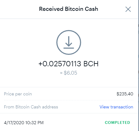 Transaction confirmation of BCH deposit at Coinbase from Coinpot