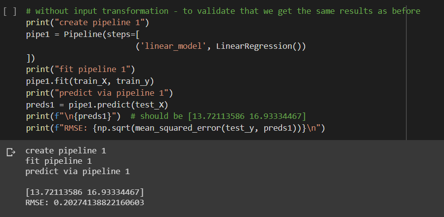 LinearRegression() with Pipeline