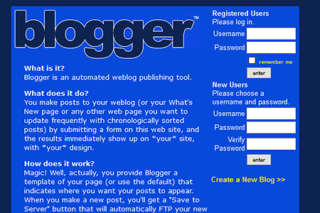 Original blogger.com homepage