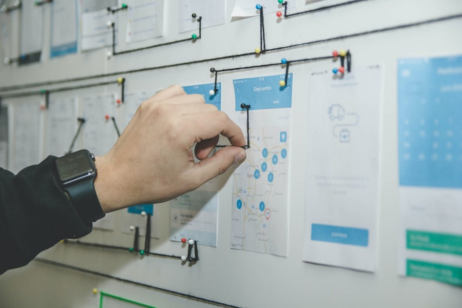 Canvas full of mobile UI wireframes and a designer marking flow with threads and pins