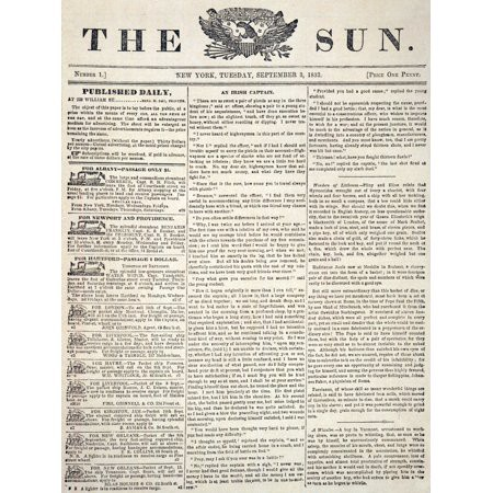1833 front page — The New York Sun